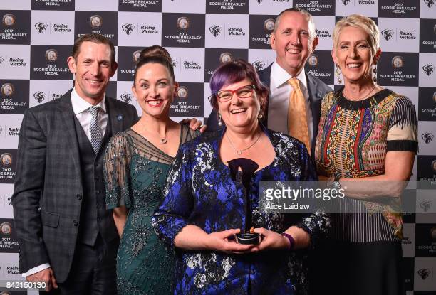 Team Winx Hugh and Christine Bowman, Deborah Kepitis, and Peter and Patricia Tighe with The Victorian Racehorse of the Year Award at the Scobie...