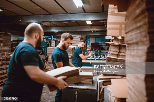 Team Work In Cardboard Factory
