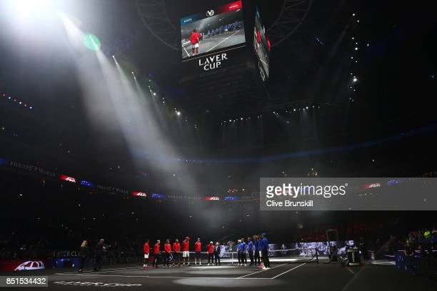 Team World and Team Europe are introduced to the crowd on the first day of the Laver Cup on September 22 2017 in Prague Czech Republic The Laver Cup...