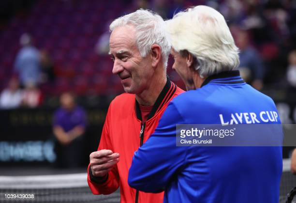 Team World and Team Europe captains John McEnroe and Bjorn Borg chat between matches at the Laver Cup at the United Center on September 23 2018 in...