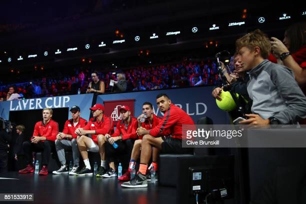Team World are introduced to the crowd on the first day of the Laver Cup on September 22 2017 in Prague Czech Republic The Laver Cup consists of six...