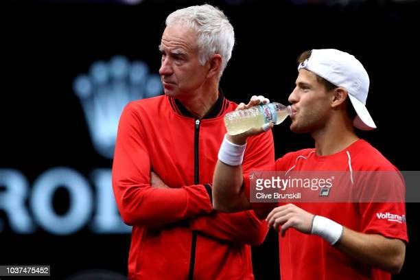 Team World Captain John McEnroe of the United States and Team World Diego Schwartzman of Argentina looks on prior to his Men's Singles match on day...