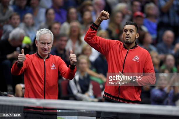 Team World Captain John McEnroe of the United States and Team World Nick Kyrgios of Australia celebrate during the Men's Singles match between Team...