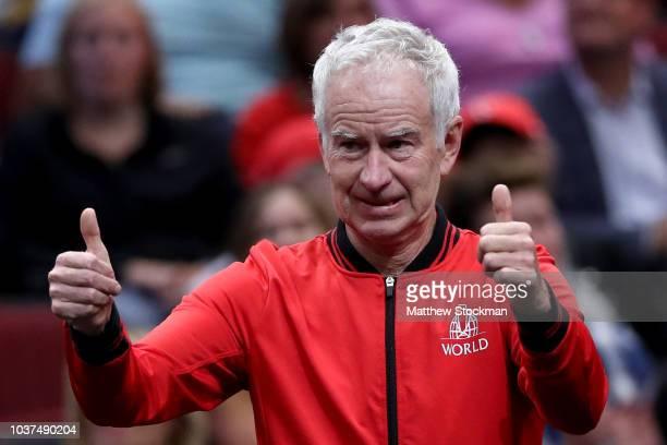 Team World Captain John McEnroe of the United States celebrates a point from Team World Diego Schwartzman of Argentina against Team Europe David...