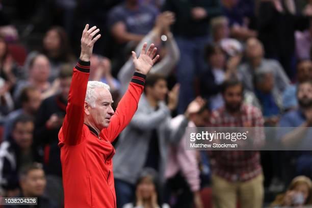 Team World Captain John McEnroe of the United States celebrates after Team World Jack Sock of the United States and Team World Nick Kyrgios of...