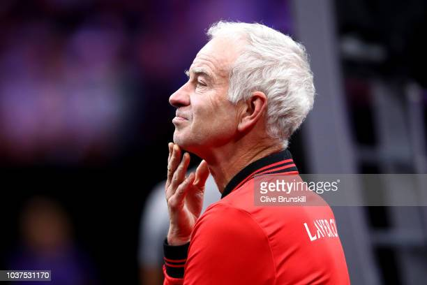 Team World Captain John McEnroe of the United States looks on during the Men's Singles match on day one of the 2018 Laver Cup at the United Center on...