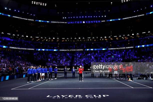 Team World Captain John McEnroe of the United States speaks to Team Europe after losing their Men's Singles match on day three of the 2018 Laver Cup...