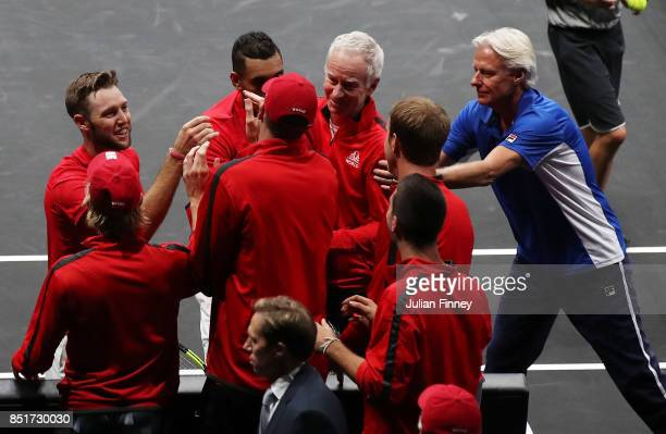 Team World celebrate after Nick Kyrgios and Jack Sock of Team World won there doubles match against Tomas Berdych and Rafael Nadal of Team Europe on...