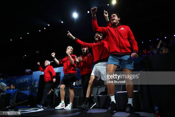 Team World celebrate in the doubles match between Rafael Nadal playing partner of Stefanos Tsitsipas of Team Europe and Jack Sock playing partner of...