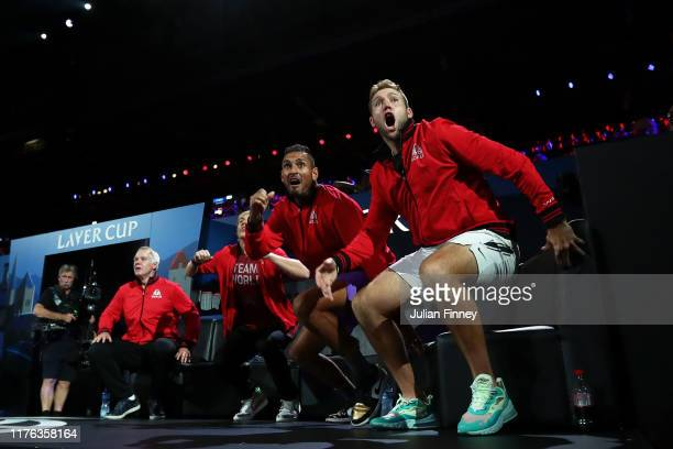 Team World celebrate in the singles match between Dominic Thiem of Team Europe and Taylor Fritz of Team World during Day Three of the Laver Cup 2019...