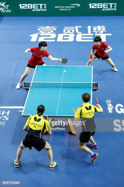 Team World Cup match between Hyo Sim CHA and Nam Hae KIM of Hong Kong China and HsienTsu CHENG ShuYu CHEN of DPR Korea Quarter Finals Women doubles...