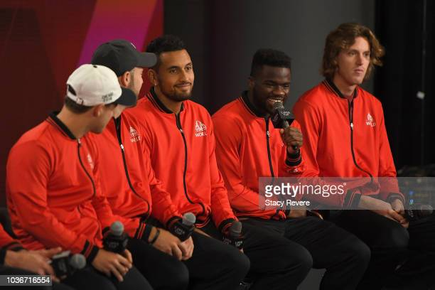 Team World Diego Schwartzman Jack Sock Nick Kyrgios Frances Tiafoe and Nicolas Jarry speak during a press conference prior to the Laver Cup at the...