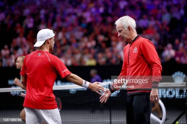 Team World Diego Schwartzman of Argentina highfives Team World Captain John McEnroe of the United States during his Men's Singles match against Team...