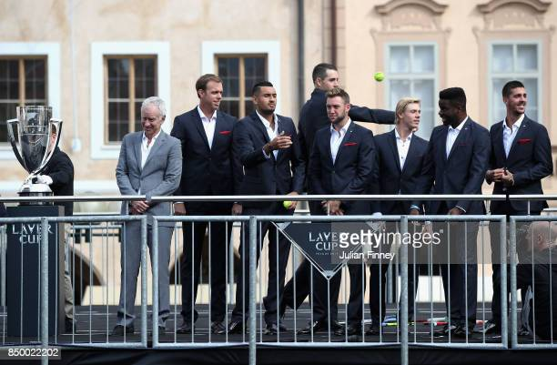 Team World greet the fans ahead of the Laver Cup on September 20 2017 in Prague Czech Republic The Laver Cup consists of six European players...