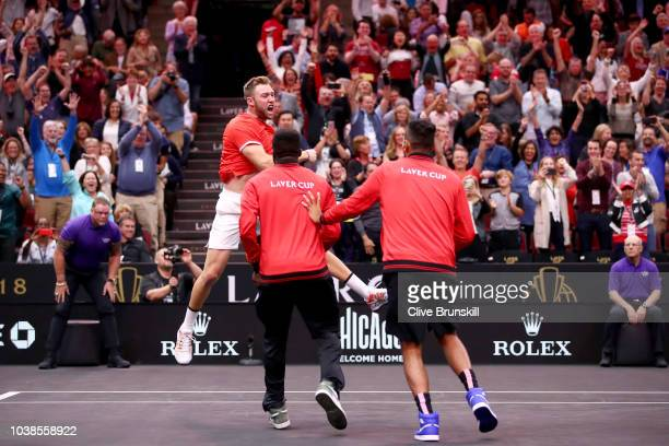 Team World Jack Sock of the United States celebrates with Team World Frances Tiafoe of the United States and Team World Nick Kyrgios of Australia...