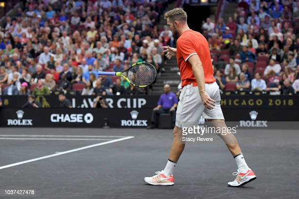 Team World Jack Sock of the United States throws his racket against Team Europe Kyle Edmund of Great Britain during their Men's Singles match on day...