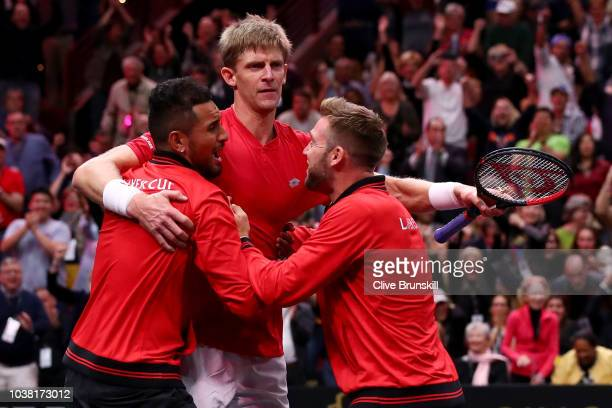 Team World Kevin Anderson of South Africa celebrates with teammates Team World Nick Kyrgios of Australia and Team World Jack Sock of the United...