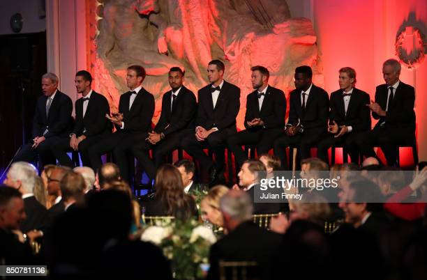 Team World line up on stage during the Laver Cup gala dinner ahead of the Laver Cup on September 21 2017 in Prague Czech Republic The Laver Cup...