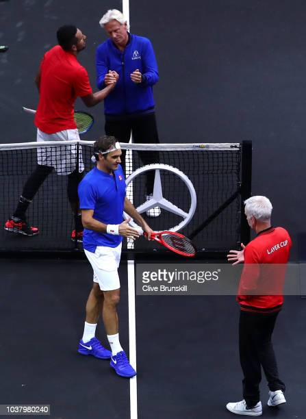 Team World Nick Kyrgios of Australia and Team Europe Roger Federer of Switzerland shake hands with Team Europe Captain Bjorn Borg of Sweden and Team...