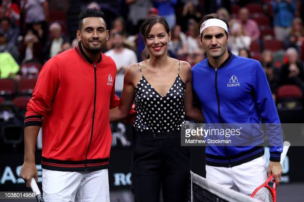Team World Nick Kyrgios of Australia and Team Europe Roger Federer of Switzerland pose with former tennis player Ana Ivanovic of Serbia prior to...