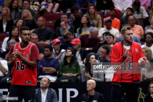 Team World Nick Kyrgios of Australia and Team World Jack Sock of the United States react during the Men's Singles match on day three of the 2018...