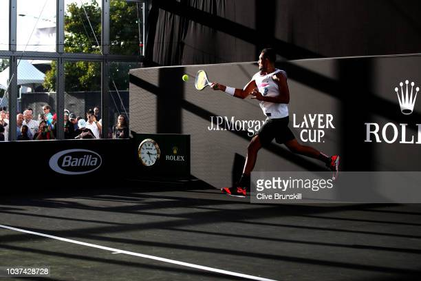 Team World Nick Kyrgios of Australia practices on day one of the 2018 Laver Cup at the United Center on September 21 2018 in Chicago Illinois