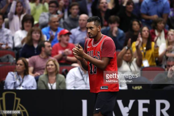 Team World Nick Kyrgios of Australia reacts during the Men's Singles match on day three of the 2018 Laver Cup at the United Center on September 23...