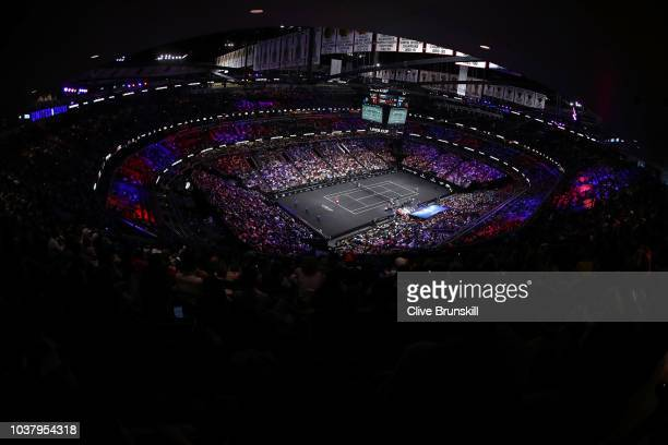 Team World Nick Kyrgios of Australia serves a shot against Team Europe Roger Federer of Switzerland during their Men's Singles match on day two of...