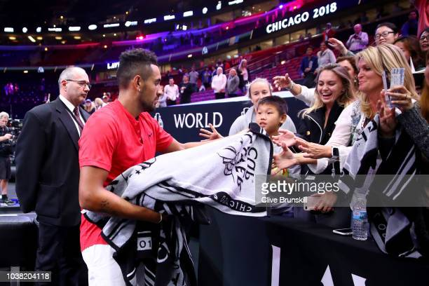 Team World Nick Kyrgios of Australia signs his autograph after his Men's Doubles match on day two of the 2018 Laver Cup at the United Center on...