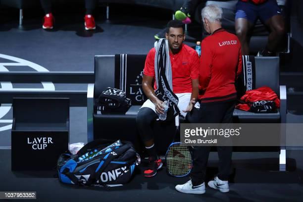 Team World Nick Kyrgios of Australia talks with Team World Captain John McEnroe of the United States during the Men's Singles match against Team...