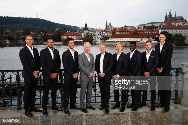 Team World Sam Querry Nick Kygrios Thanasi Kokkinakis John McEnroe Patrick McEnroe Denis Shapovalov Francis Tiafoe Jack Sock and John Isner pose for...