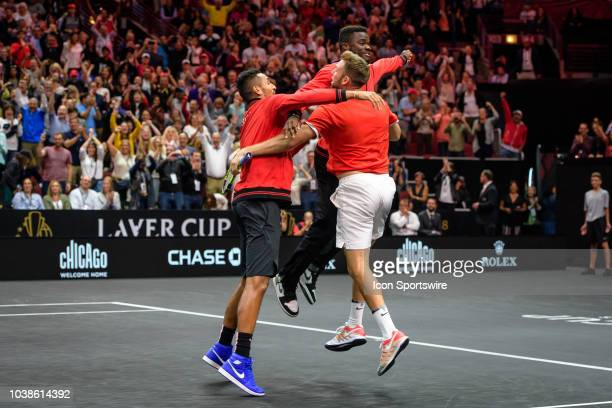 Team World's Jack Sock of the United States of America celebrate with Team World's Nick Kyrgios of Australia and Team World's Frances Tiafoe of the...