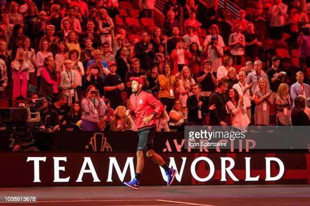 Team World's Nick Kyrgios of Australia enters the court before a doubles match on day three of the 2018 Laver Cup on September 23 at the United...