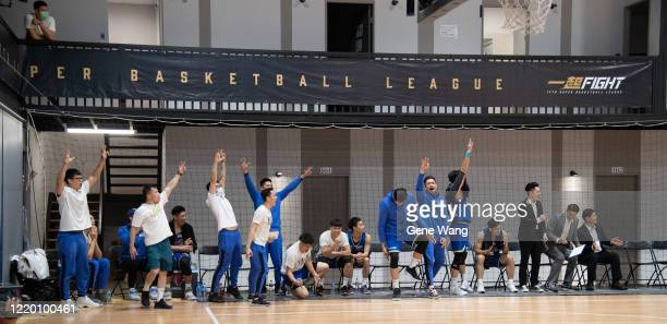 Team Yulon Luxgen Dinos celebrate during the SBL Finals Game One between Taiwan Beer and Yulon Luxgen Dinos at Hao Yu Trainning Center on April 21...