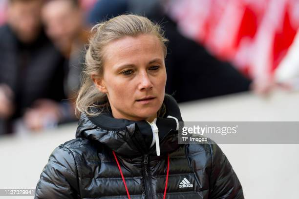 Teammanager Kathleen Krueger of FC Bayern Muenchen looks on prior to the Bundesliga match between Fortuna Duesseldorf and FC Bayern Muenchen at...