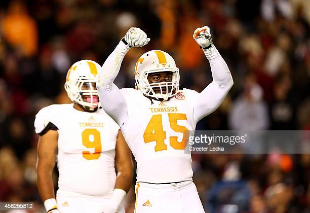 Teammate Derek Barnett and AJ Johnson of the Tennessee Volunteers wait for a play against the South Carolina Gamecocks during their game at...