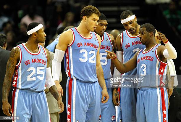 Teammates Blake Griffin of the Los Angeles Clippers Ryan Gomes and Kenyon Martin and Mo Williams listen to Chris Paul during a timeout against the...
