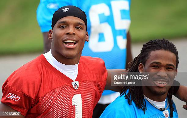 Teammates Cam Newton and DeAngelo Williams of the Carolina Panthers during training camp at Wofford College on July 30, 2011 in Spartanburg, South...