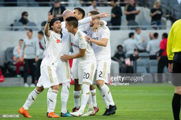 Midfielder Hector Jimenez of Columbus Crew heads the ball in the Los Angeles FC MLS game against Columbus Crew at Banc of California Stadium on June...