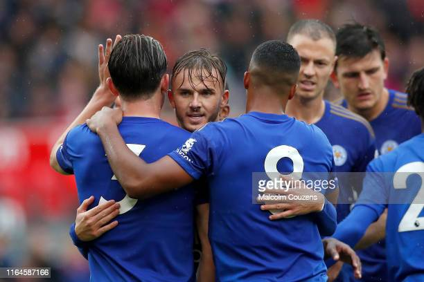 Teammates celebrate with James Maddison of Leicester City during the Pre-Season Friendly match between Stoke City and Leicester City at Bet365...