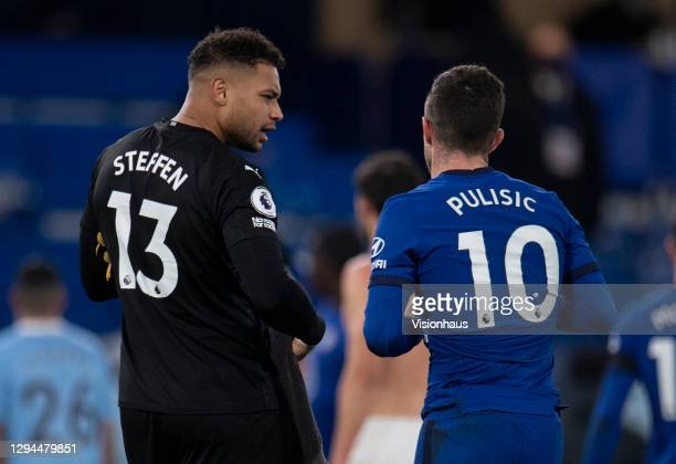 Team-mates Christian Pulisic of Chelsea and Zack Steffen of Manchester City chat after the Premier League match between Chelsea and Manchester City...