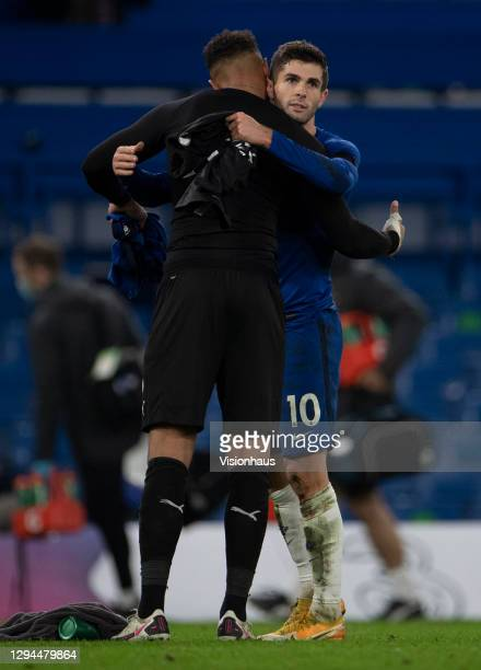 Team-mates Christian Pulisic of Chelsea and Zack Steffen of Manchester City embrace after the Premier League match between Chelsea and Manchester...