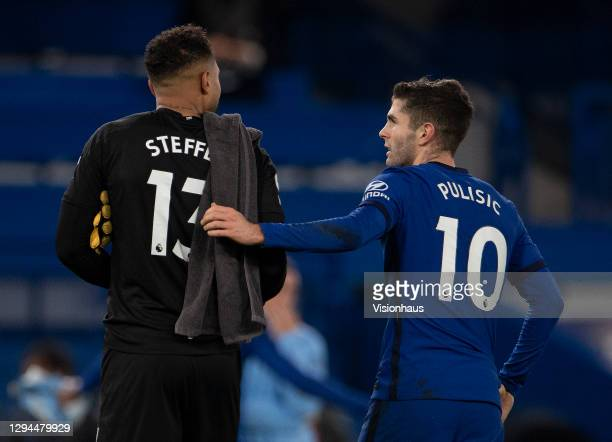 Team-mates Christian Pulisic of Chelsea and Zack Steffen of Manchester City walk from the pitch atter the Premier League match between Chelsea and...