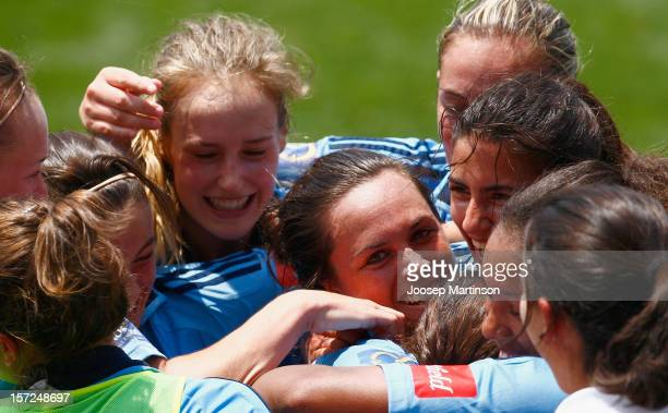 Teammates congratulate Emma Kete of Sydney FC after she scored the winning goal during the round seven W-League match between Sydney FC and Canberra...