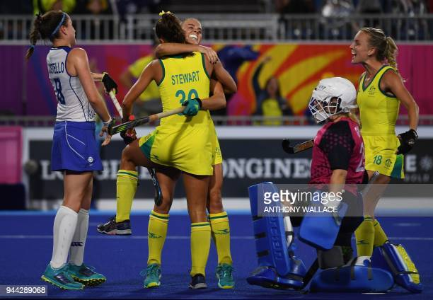 Teammates congratulate Grace Stewart of Australia after she scored a goal as Scotland's goalkeeper Amy Gibson and Amy Costello react during the...