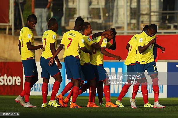 Teammates congratulate Guerrero Yeison of Ecuador after he scored in the first half during the FIFA U17 Men's World Cup Chile 2015 group D match...