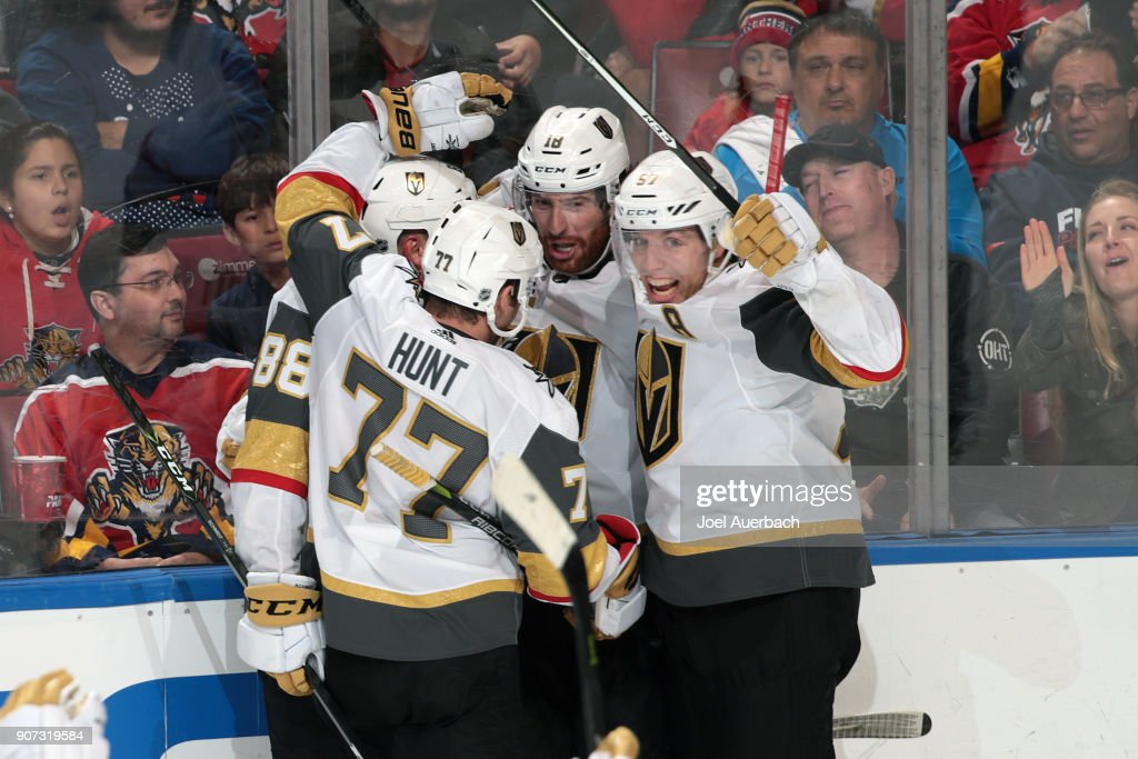 Teammates congratulate James Neal #18 of the Vegas Golden Knights after he scored a third period goal to tie the game against the Florida Panthers at the BB&T Center on January 19, 2018 in Sunrise, Florida. The Panthers defeated the Vegas Golden Knights 4-3 in overtime.