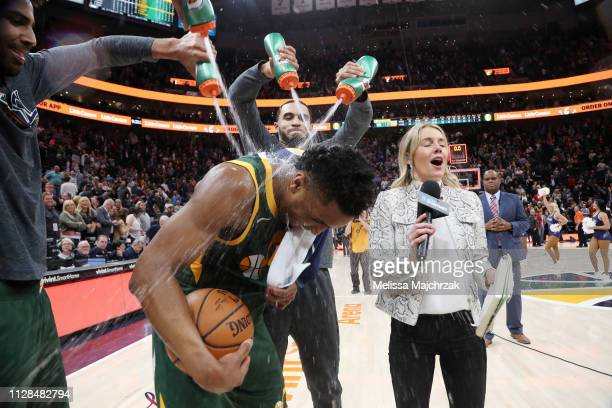 Teammates drench Donovan Mitchell of the Utah Jazz with water following the game against the Milwaukee Bucks on March 2 2019 at vivintSmartHome Arena...
