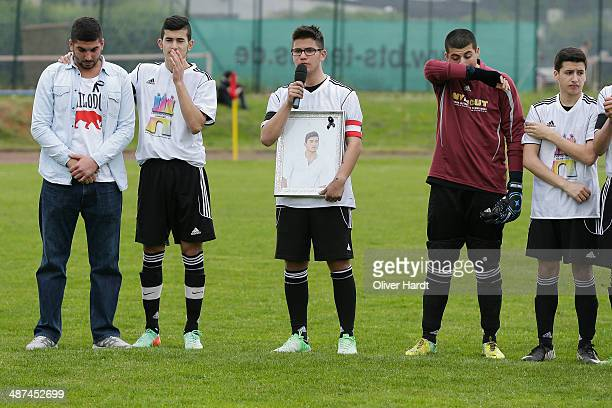 Teammates friends and relatives gather to remember Diren Dede at his football club SC Teutonia 1910 on April 30 2014 in Hamburg Germany German...