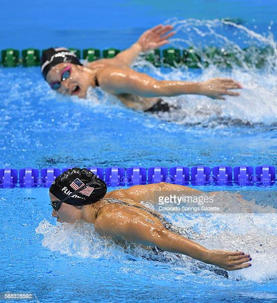 US teammates Hali Flickinger bottom and Cammille Adams swim side by side in the 200m Butterfly at the Olympic Aquatics Stadium in Rio de Janeiro...